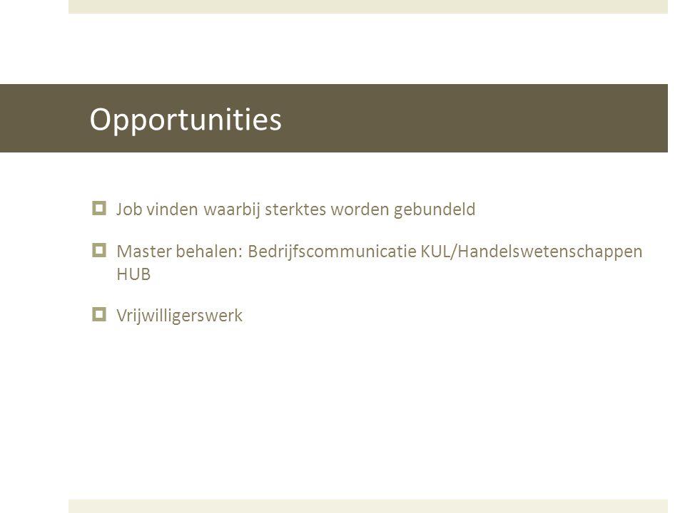Opportunities  Job vinden waarbij sterktes worden gebundeld  Master behalen: Bedrijfscommunicatie KUL/Handelswetenschappen HUB  Vrijwilligerswerk