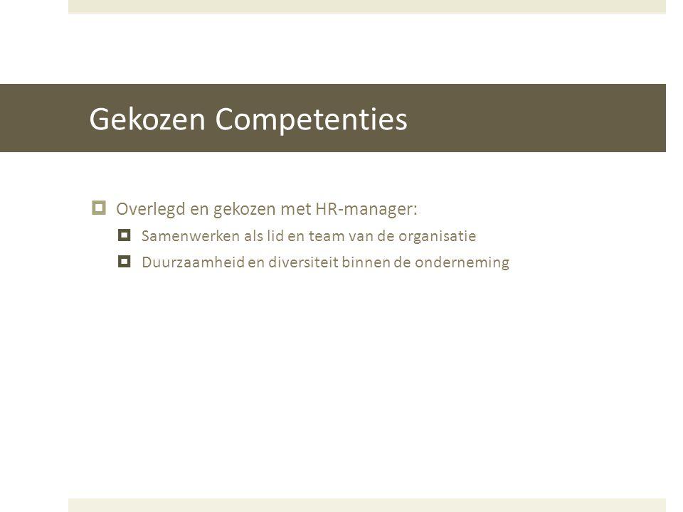 Gekozen Competenties  Overlegd en gekozen met HR-manager:  Samenwerken als lid en team van de organisatie  Duurzaamheid en diversiteit binnen de on
