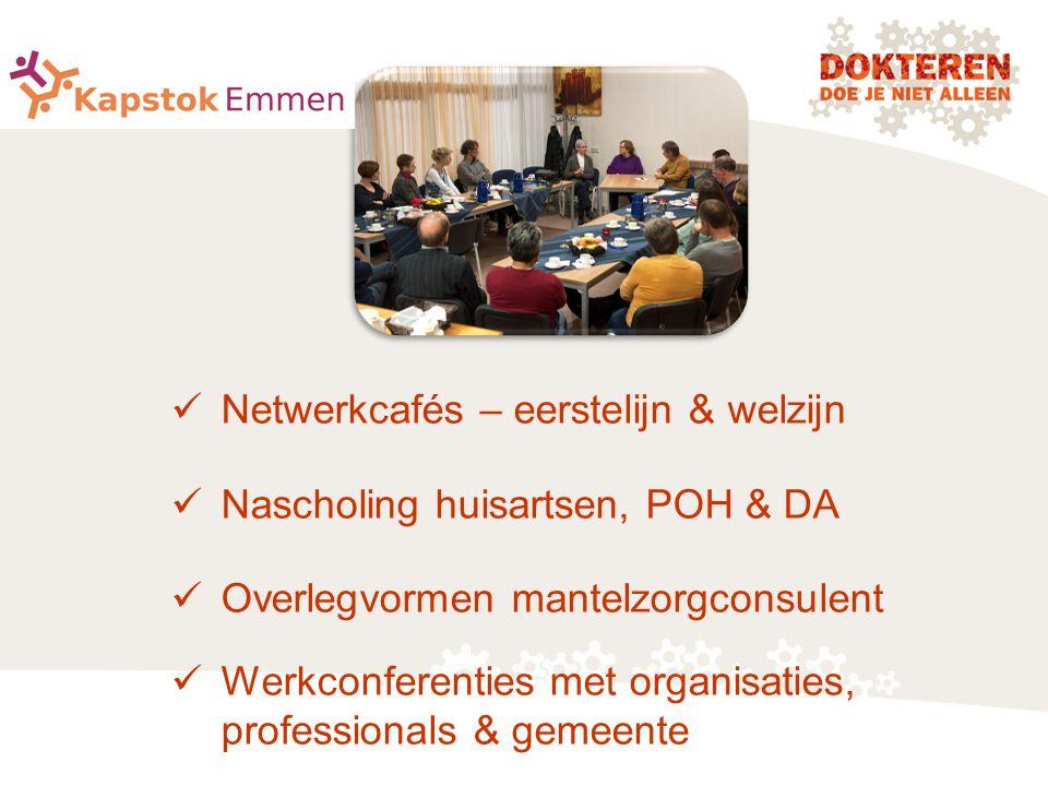 Netwerkcafés – eerstelijn & welzijn Nascholing huisartsen, POH & DA Overlegvormen mantelzorgconsulent Werkconferenties met organisaties, professionals