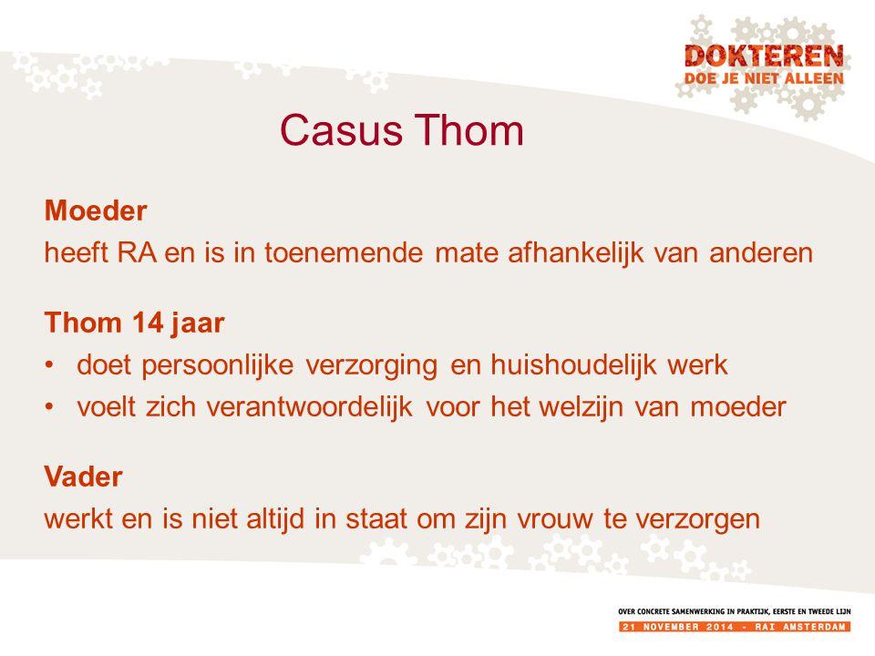 Casus Thom Moeder heeft RA en is in toenemende mate afhankelijk van anderen Thom 14 jaar doet persoonlijke verzorging en huishoudelijk werk voelt zich