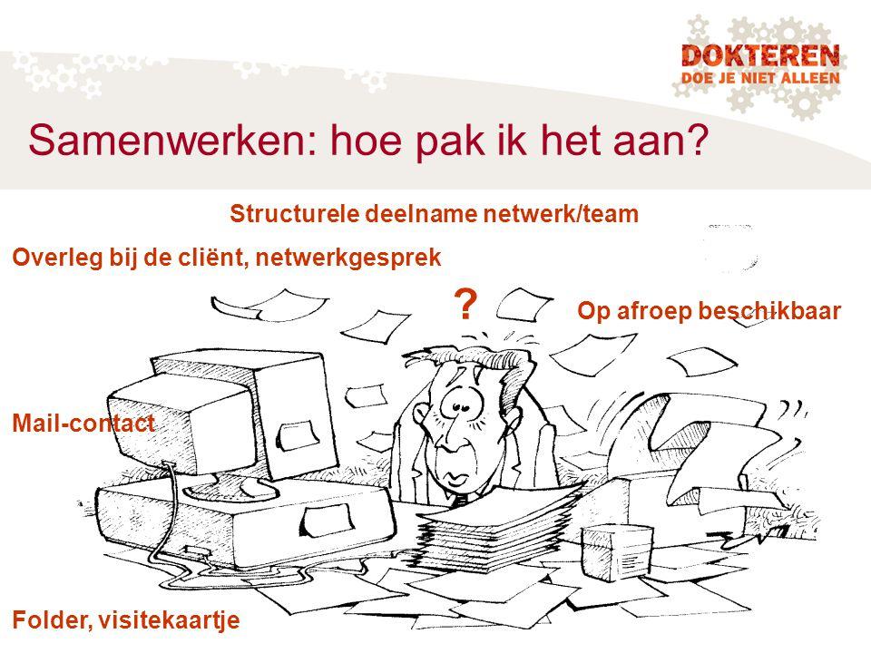 Samenwerken: hoe pak ik het aan? Structurele deelname netwerk/team Overleg bij de cliënt, netwerkgesprek ? Op afroep beschikbaar Mail-contact Folder,