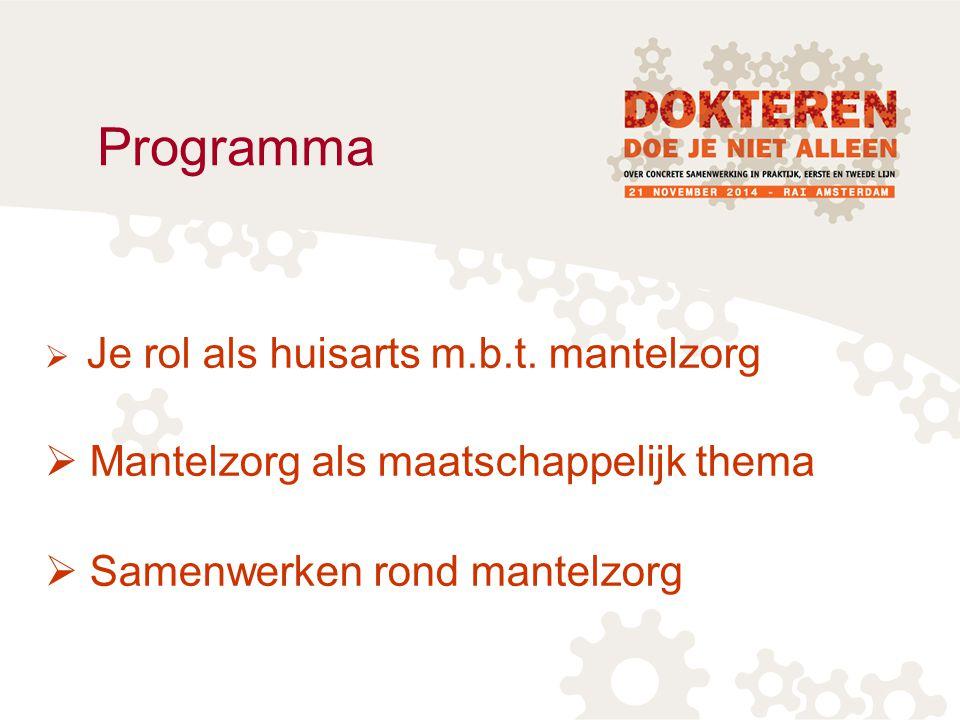 Programma  Je rol als huisarts m.b.t. mantelzorg  Mantelzorg als maatschappelijk thema  Samenwerken rond mantelzorg