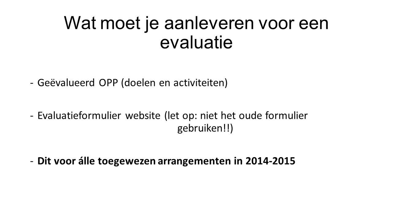Wat moet je aanleveren voor een evaluatie -Geëvalueerd OPP (doelen en activiteiten) -Evaluatieformulier website (let op: niet het oude formulier gebru