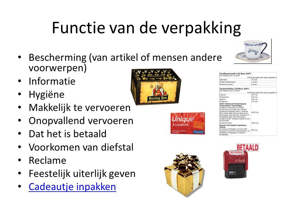 Functie van de verpakking Bescherming (van artikel of mensen andere voorwerpen) Informatie Hygiëne Makkelijk te vervoeren Onopvallend vervoeren Dat he