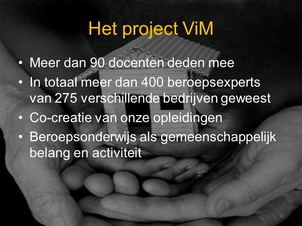 Het project ViM Meer dan 90 docenten deden mee In totaal meer dan 400 beroepsexperts van 275 verschillende bedrijven geweest Co-creatie van onze opleidingen Beroepsonderwijs als gemeenschappelijk belang en activiteit 11