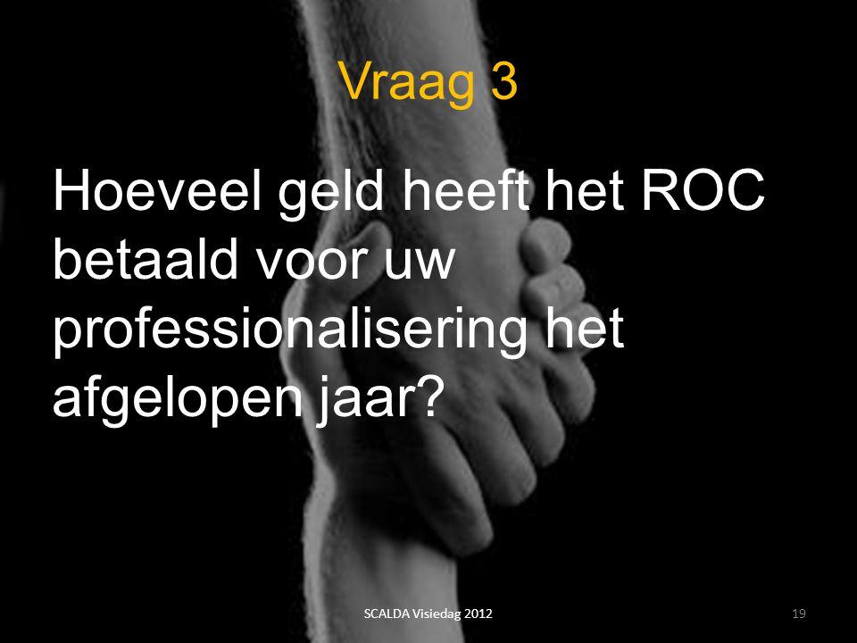 Vraag 3 Hoeveel geld heeft het ROC betaald voor uw professionalisering het afgelopen jaar? 19SCALDA Visiedag 2012