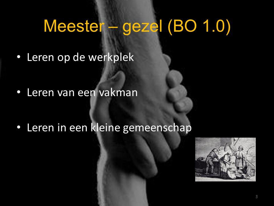 Meester – gezel (BO 1.0) Leren op de werkplek Leren van een vakman Leren in een kleine gemeenschap 3