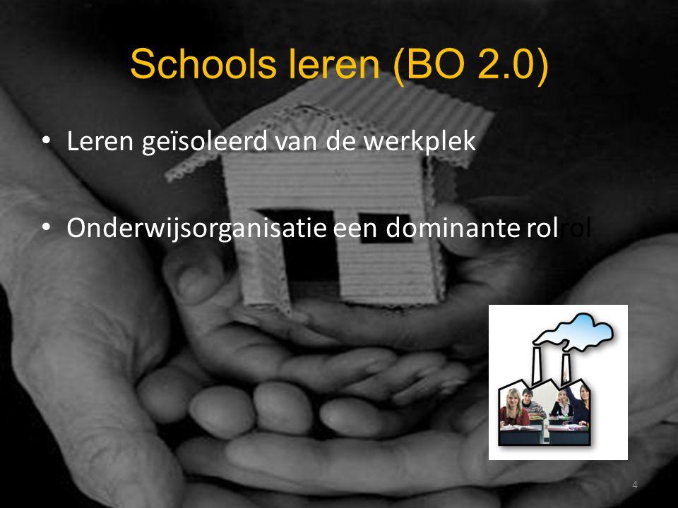 Schools leren (BO 2.0) Leren geïsoleerd van de werkplek Onderwijsorganisatie een dominante rolrol 4