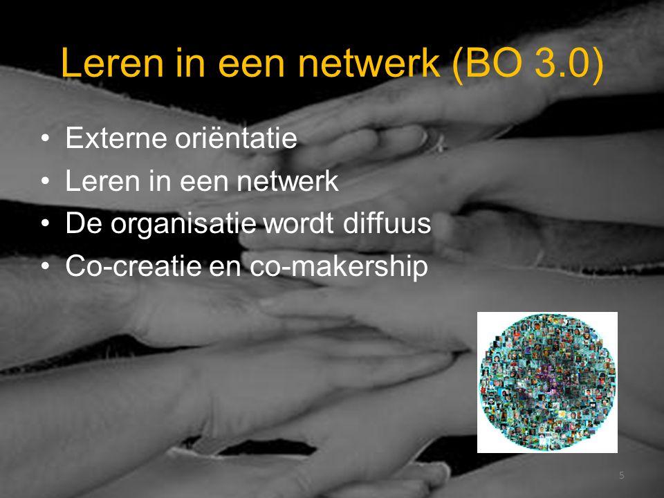 Leren in een netwerk (BO 3.0) Externe oriëntatie Leren in een netwerk De organisatie wordt diffuus Co-creatie en co-makership 5