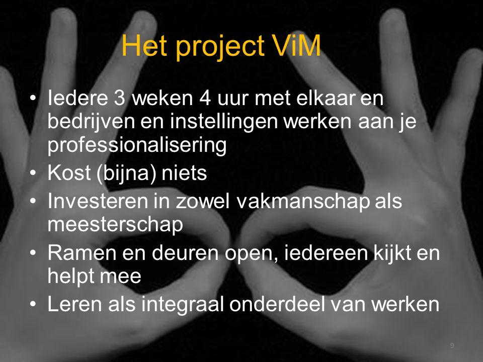 Het project ViM Iedere 3 weken 4 uur met elkaar en bedrijven en instellingen werken aan je professionalisering Kost (bijna) niets Investeren in zowel vakmanschap als meesterschap Ramen en deuren open, iedereen kijkt en helpt mee Leren als integraal onderdeel van werken 9