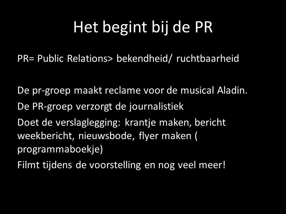 Rol binnen de pr Journalisten Redacteuren Cameraman/vrouw Grafisch vormgever Gastvrouw/man Reclameman/vrouw assistent