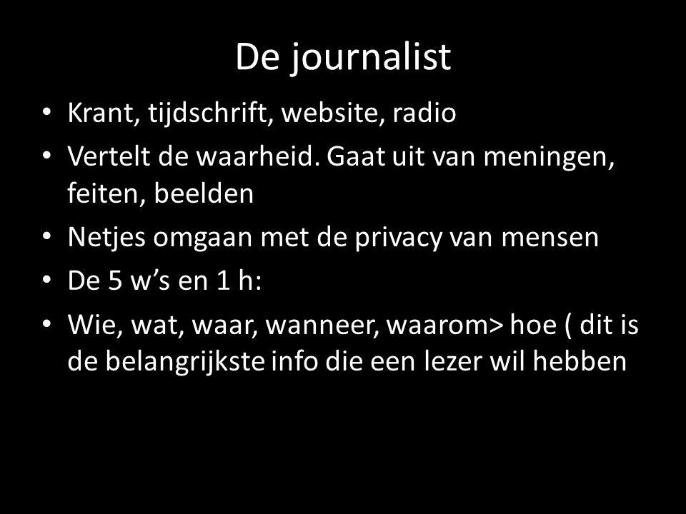 Taak van een journalist Informatie verwerken Onderzoek uitvoeren Contacten leggen schrijven Het nieuws volgen