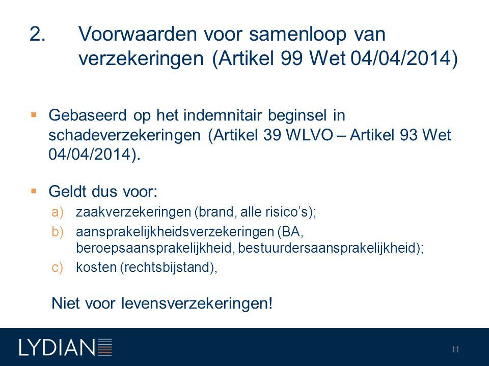 2. Voorwaarden voor samenloop van verzekeringen (Artikel 99 Wet 04/04/2014)  Gebaseerd op het indemnitair beginsel in schadeverzekeringen (Artikel 39