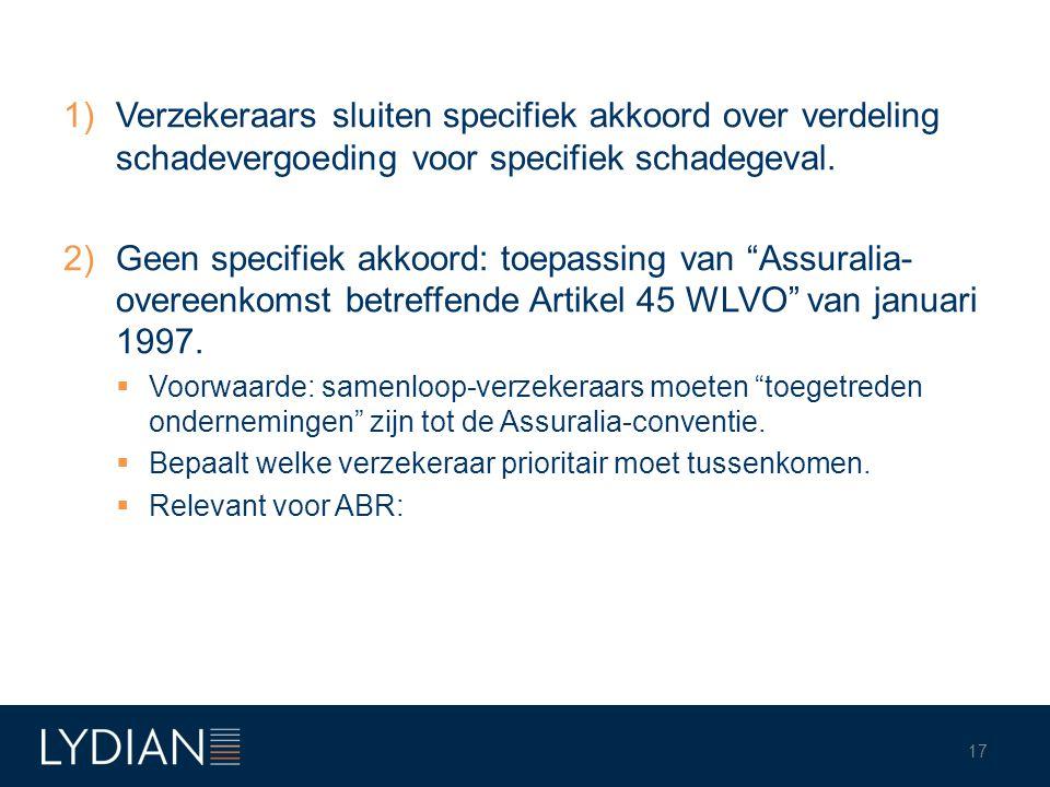 """1)Verzekeraars sluiten specifiek akkoord over verdeling schadevergoeding voor specifiek schadegeval. 2)Geen specifiek akkoord: toepassing van """"Assural"""