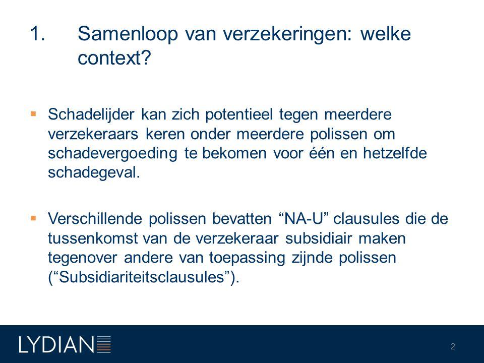 1. Samenloop van verzekeringen: welke context?  Schadelijder kan zich potentieel tegen meerdere verzekeraars keren onder meerdere polissen om schadev