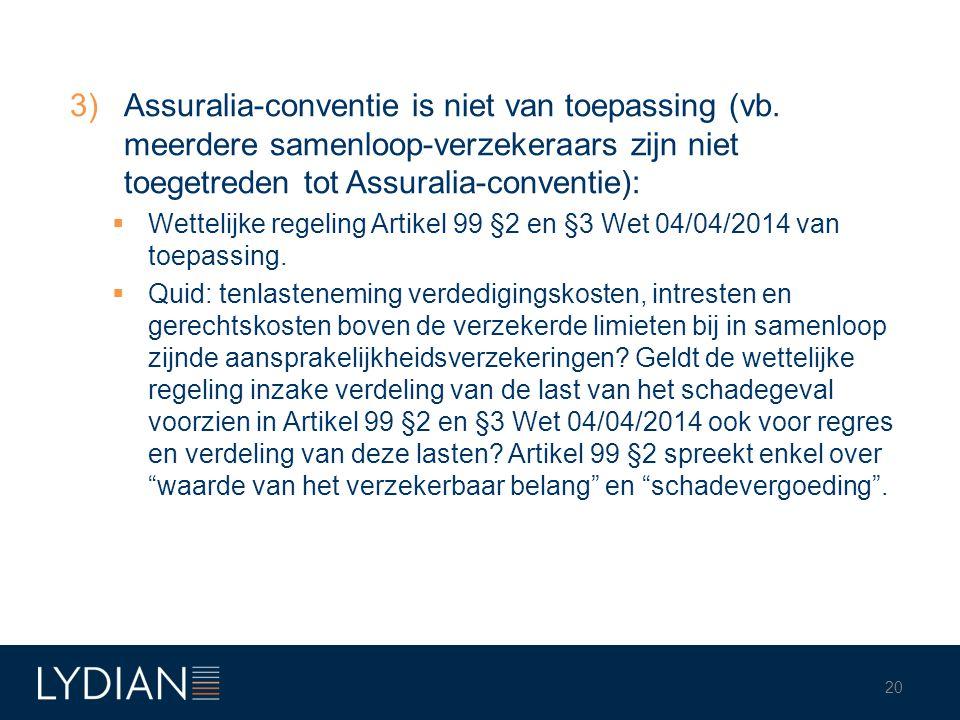 3)Assuralia-conventie is niet van toepassing (vb. meerdere samenloop-verzekeraars zijn niet toegetreden tot Assuralia-conventie):  Wettelijke regelin