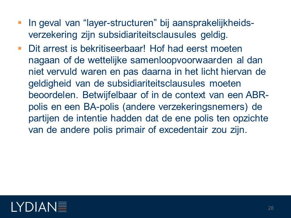 """ In geval van """"layer-structuren"""" bij aansprakelijkheids- verzekering zijn subsidiariteitsclausules geldig.  Dit arrest is bekritiseerbaar! Hof had e"""