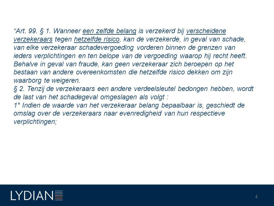 Toepassingsvoorwaarden (vervolg): 6.Identiteit van verzekerd goed 7.Er moet dekking zijn onder de verschillende polissen.