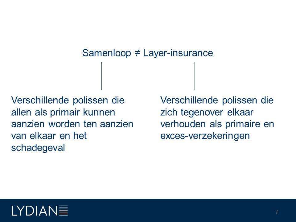 7 Samenloop ≠ Layer-insurance Verschillende polissen die allen als primair kunnen aanzien worden ten aanzien van elkaar en het schadegeval Verschillen
