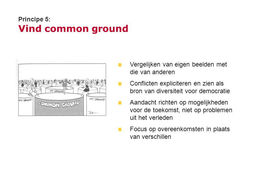 Principe 5: Vind common ground Vergelijken van eigen beelden met die van anderen Conflicten expliciteren en zien als bron van diversiteit voor democra
