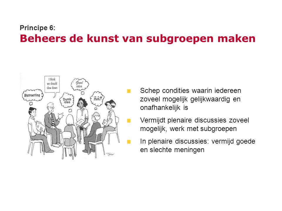 Principe 6: Beheers de kunst van subgroepen maken Schep condities waarin iedereen zoveel mogelijk gelijkwaardig en onafhankelijk is Vermijdt plenaire