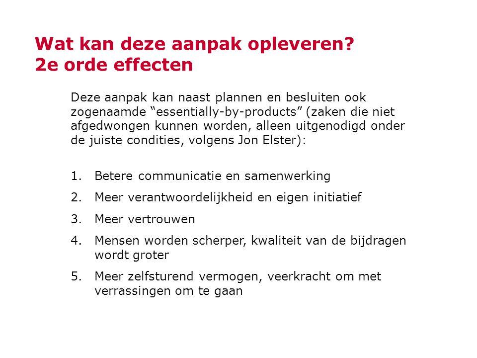 """Wat kan deze aanpak opleveren? 2e orde effecten Deze aanpak kan naast plannen en besluiten ook zogenaamde """"essentially-by-products"""" (zaken die niet af"""