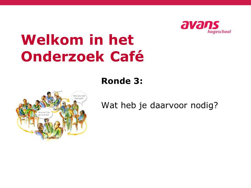 Welkom in het Onderzoek Café Ronde 3: Wat heb je daarvoor nodig?