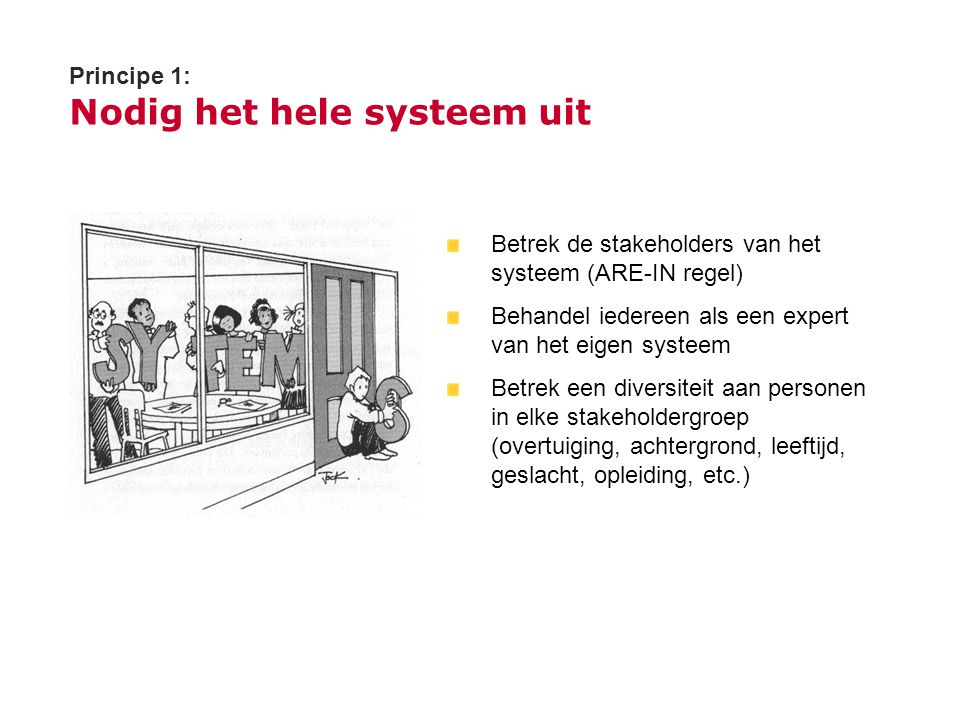 Principe 1: Nodig het hele systeem uit Betrek de stakeholders van het systeem (ARE-IN regel) Behandel iedereen als een expert van het eigen systeem Be