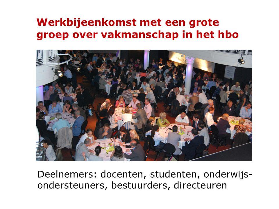 Deelnemers: docenten, studenten, onderwijs- ondersteuners, bestuurders, directeuren Werkbijeenkomst met een grote groep over vakmanschap in het hbo