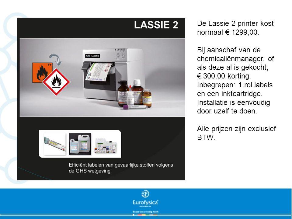 De Lassie 2 printer kost normaal € 1299,00. Bij aanschaf van de chemicaliënmanager, of als deze al is gekocht, € 300,00 korting. Inbegrepen: 1 rol lab