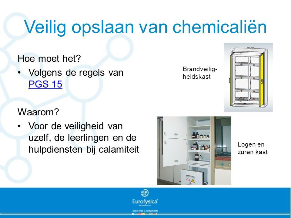 Veilig opslaan van chemicaliën Hoe moet het? Volgens de regels van PGS 15 PGS 15 Waarom? Voor de veiligheid van uzelf, de leerlingen en de hulpdienste