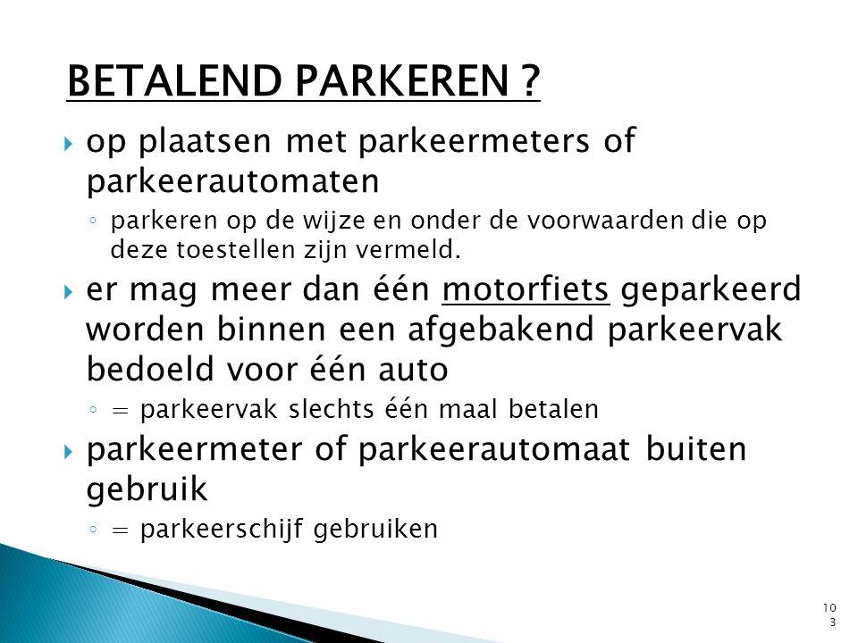  op plaatsen met parkeermeters of parkeerautomaten ◦ parkeren op de wijze en onder de voorwaarden die op deze toestellen zijn vermeld.  er mag meer