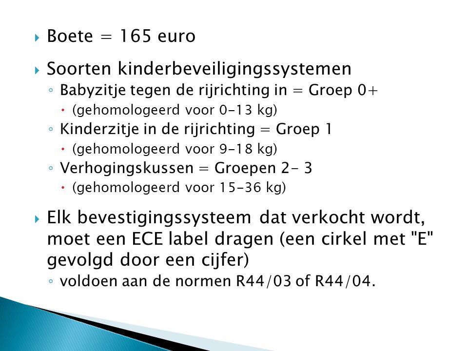  Boete = 165 euro  Soorten kinderbeveiligingssystemen ◦ Babyzitje tegen de rijrichting in = Groep 0+  (gehomologeerd voor 0-13 kg) ◦ Kinderzitje in de rijrichting = Groep 1  (gehomologeerd voor 9-18 kg) ◦ Verhogingskussen = Groepen 2- 3  (gehomologeerd voor 15-36 kg)  Elk bevestigingssysteem dat verkocht wordt, moet een ECE label dragen (een cirkel met E gevolgd door een cijfer) ◦ voldoen aan de normen R44/03 of R44/04.