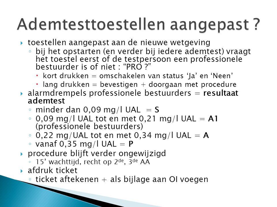  toestellen aangepast aan de nieuwe wetgeving ◦ bij het opstarten (en verder bij iedere ademtest) vraagt het toestel eerst of de testpersoon een professionele bestuurder is of niet : PRO ?  kort drukken = omschakelen van status 'Ja' en 'Neen'  lang drukken = bevestigen + doorgaan met procedure  alarmdrempels professionele bestuurders = resultaat ademtest ◦ minder dan 0,09 mg/l UAL = S ◦ 0,09 mg/l UAL tot en met 0,21 mg/l UAL = A1 (professionele bestuurders) ◦ 0,22 mg/UAL tot en met 0,34 mg/l UAL = A ◦ vanaf 0,35 mg/l UAL = P  procedure blijft verder ongewijzigd ◦ 15' wachttijd, recht op 2 de, 3 de AA  afdruk ticket ◦ ticket aftekenen + als bijlage aan OI voegen