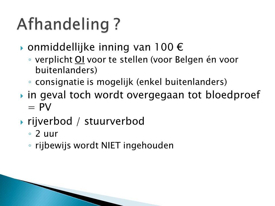  onmiddellijke inning van 100 € ◦ verplicht OI voor te stellen (voor Belgen én voor buitenlanders) ◦ consignatie is mogelijk (enkel buitenlanders) 
