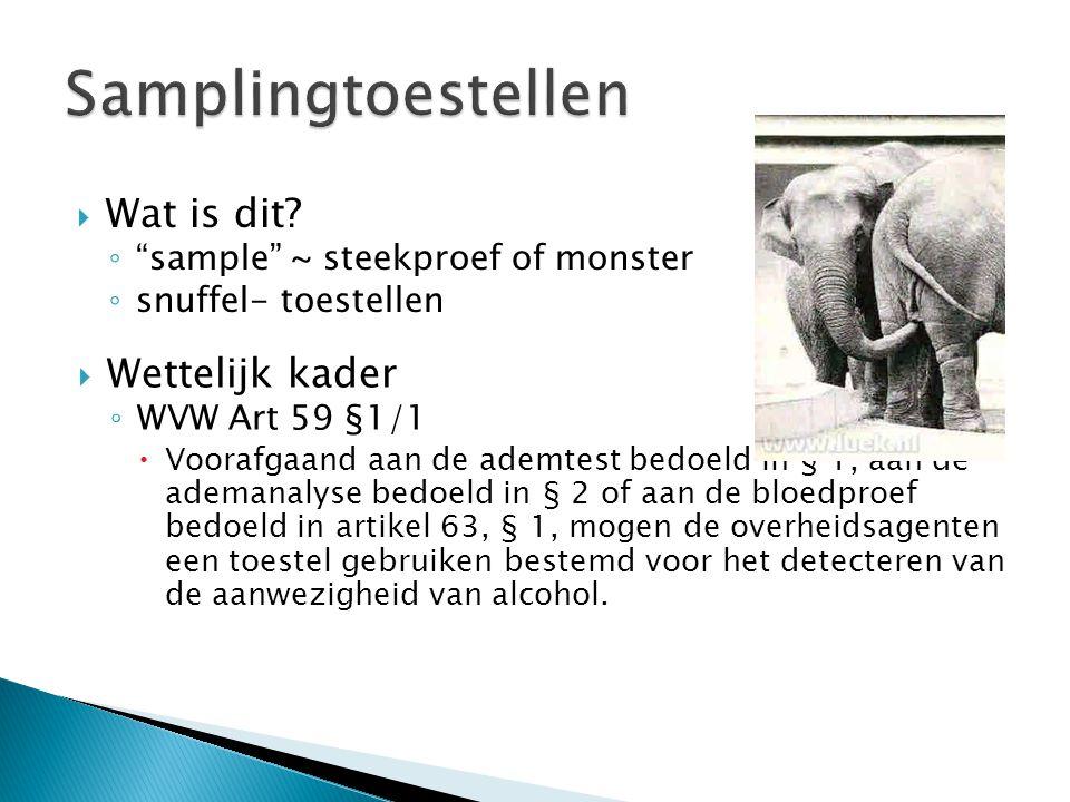  Wettelijk kader ◦ WVW Art 59 §1/1  Voorafgaand aan de ademtest bedoeld in § 1, aan de ademanalyse bedoeld in § 2 of aan de bloedproef bedoeld in artikel 63, § 1, mogen de overheidsagenten een toestel gebruiken bestemd voor het detecteren van de aanwezigheid van alcohol.