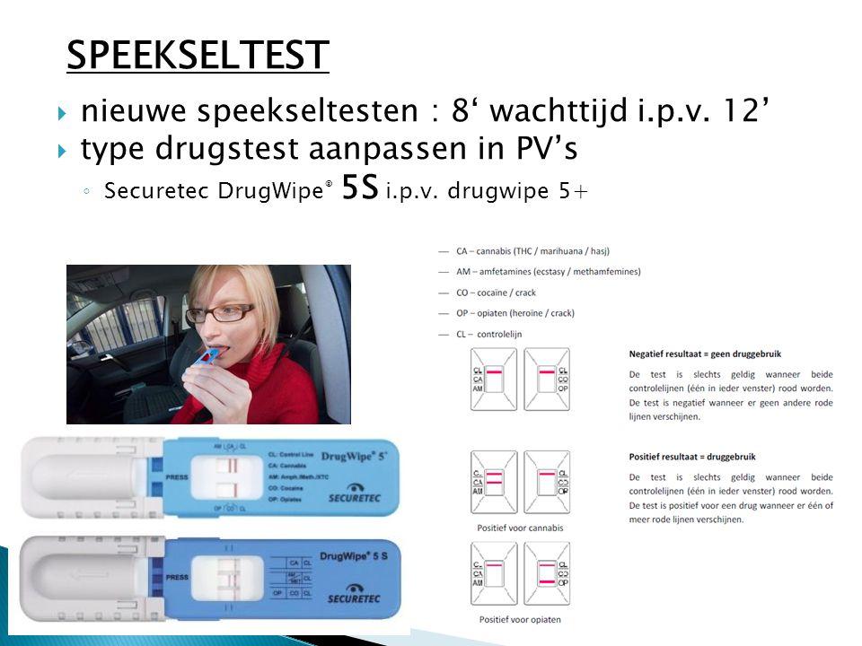  nieuwe speekseltesten : 8' wachttijd i.p.v. 12'  type drugstest aanpassen in PV's ◦ Securetec DrugWipe ® 5S i.p.v. drugwipe 5+ SPEEKSELTEST