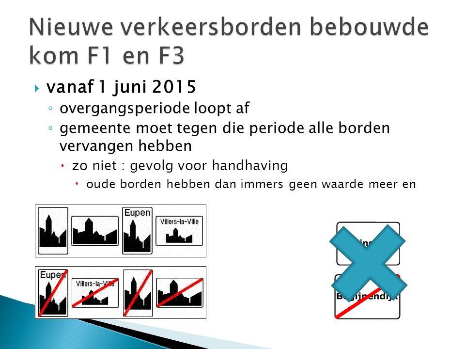 vanaf 1 juni 2015 ◦ overgangsperiode loopt af ◦ gemeente moet tegen die periode alle borden vervangen hebben  zo niet : gevolg voor handhaving  ou