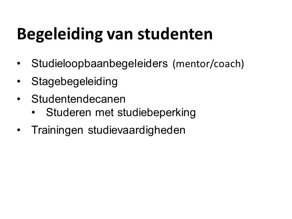 Begeleiding van studenten Studieloopbaanbegeleiders (mentor/coach) Stagebegeleiding Studentendecanen Studeren met studiebeperking Trainingen studievaa