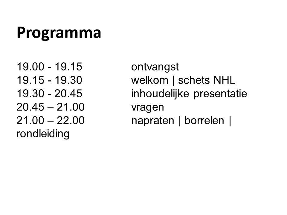 Programma 19.00 - 19.15 ontvangst 19.15 - 19.30welkom | schets NHL 19.30 - 20.45 inhoudelijke presentatie 20.45 – 21.00 vragen 21.00 – 22.00 napraten