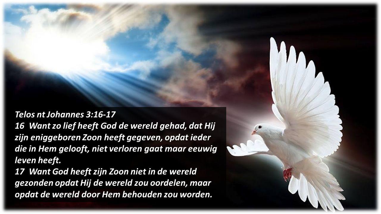 Telos nt Johannes 3:16-17 16 Want zo lief heeft God de wereld gehad, dat Hij zijn eniggeboren Zoon heeft gegeven, opdat ieder die in Hem gelooft, niet