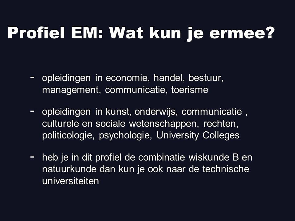 Profiel EM: Wat kun je ermee.