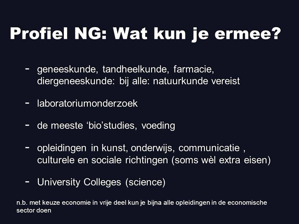 Profiel NG: Wat kun je ermee.