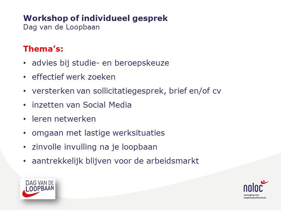 Workshop of individueel gesprek Dag van de Loopbaan Thema's: advies bij studie- en beroepskeuze effectief werk zoeken versterken van sollicitatiegespr