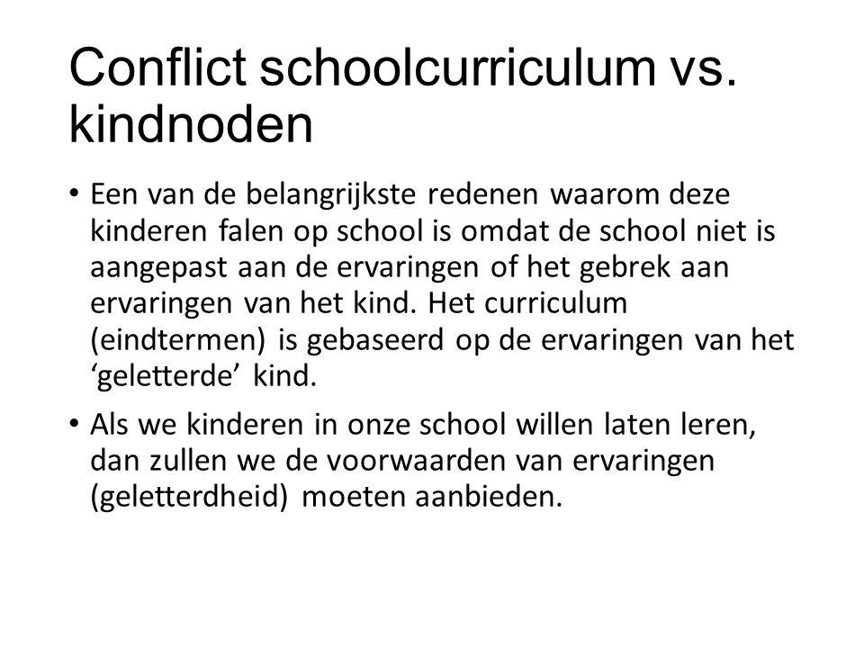 Conflict schoolcurriculum vs. kindnoden Een van de belangrijkste redenen waarom deze kinderen falen op school is omdat de school niet is aangepast aan