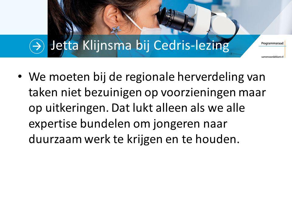 Jetta Klijnsma bij Cedris-lezing We moeten bij de regionale herverdeling van taken niet bezuinigen op voorzieningen maar op uitkeringen.
