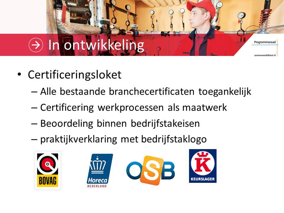 In ontwikkeling Certificeringsloket – Alle bestaande branchecertificaten toegankelijk – Certificering werkprocessen als maatwerk – Beoordeling binnen bedrijfstakeisen – praktijkverklaring met bedrijfstaklogo