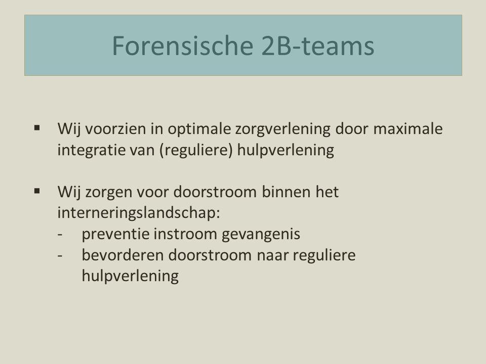 Forensische 2B-teams  Wij voorzien in optimale zorgverlening door maximale integratie van (reguliere) hulpverlening  Wij zorgen voor doorstroom binnen het interneringslandschap: -preventie instroom gevangenis -bevorderen doorstroom naar reguliere hulpverlening