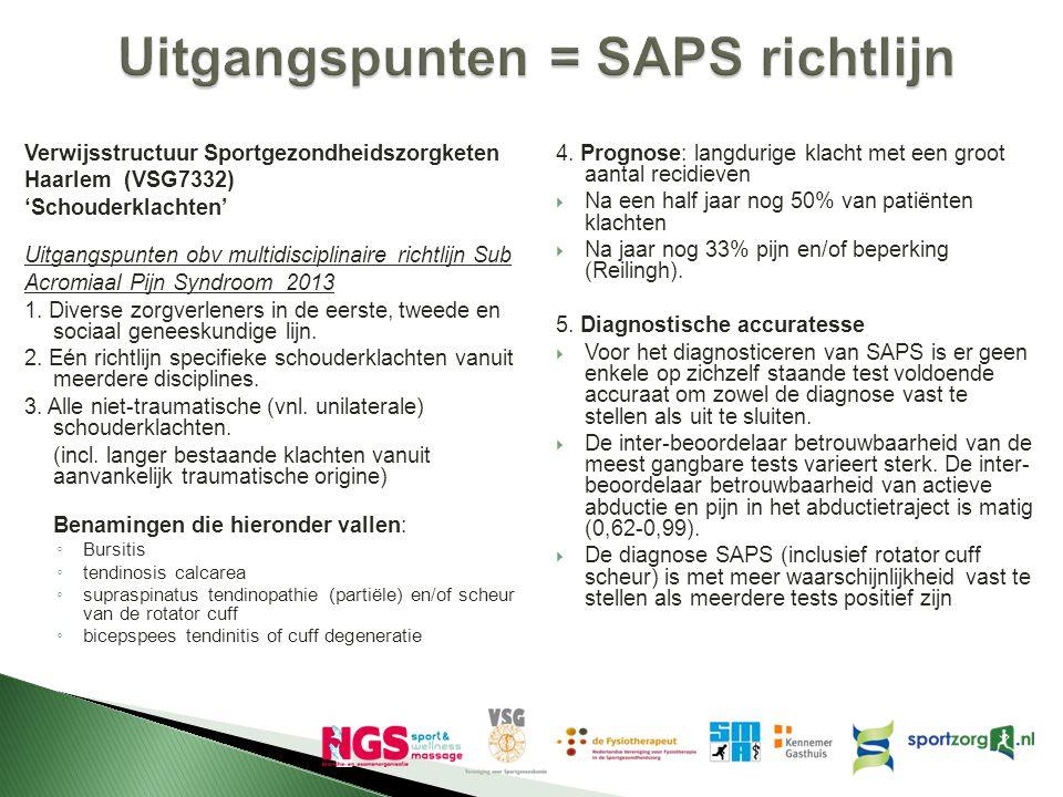 Uitgangspunten = SAPS richtlijn Verwijsstructuur Sportgezondheidszorgketen Haarlem (VSG7332) 'Schouderklachten' Uitgangspunten obv multidisciplinaire