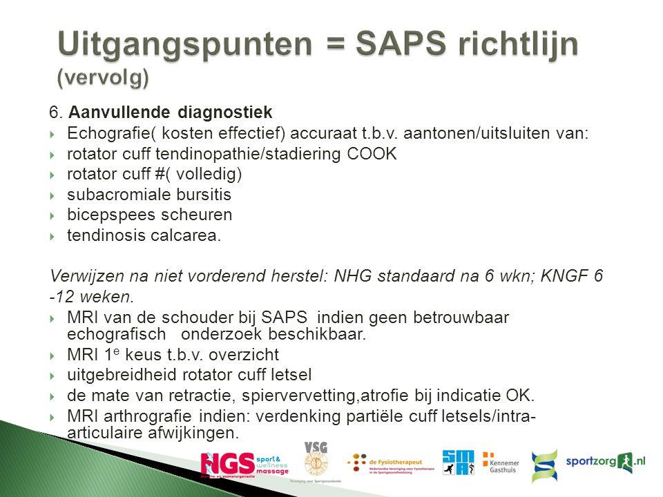 Uitgangspunten = SAPS richtlijn (vervolg) 6. Aanvullende diagnostiek  Echografie( kosten effectief) accuraat t.b.v. aantonen/uitsluiten van:  rotato